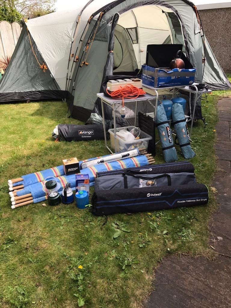 Camping Equipment with trailerin Garforth, West YorkshireGumtree - Camping Equipment with trailer. Vango Colorado 800 DLX 8 berth tent. Various camping items camp beds, cooler, kitchen unit, gas bottles, lights, electric hook up, tent extension, tent carpet, other items in photo. Sold as a package. Not to be split....