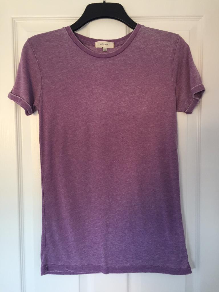 River island purple tshirt mens size xxs