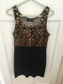 Black and leopard print fitted dress