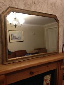 Large shabby chic style over mantel gold effect mirror