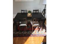 Good condition IKEA extendable dining table and 4 dining chairs