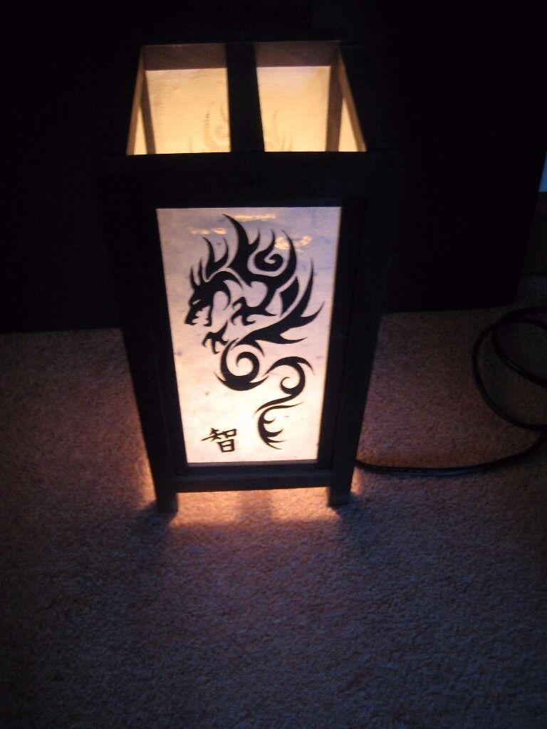 TABLE LIGHT ASIAN PAPER WITH DRAGON DESIGN BEDSIDE DESK DECOR TABLE LIGHT