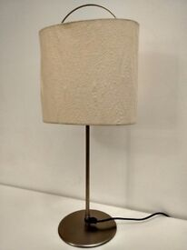 Lamp. Steel base, cream paper shade. VGC.