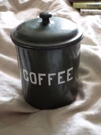 """vintage green tin for """"coffee"""""""
