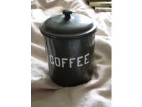 "vintage green tin for ""coffee"""