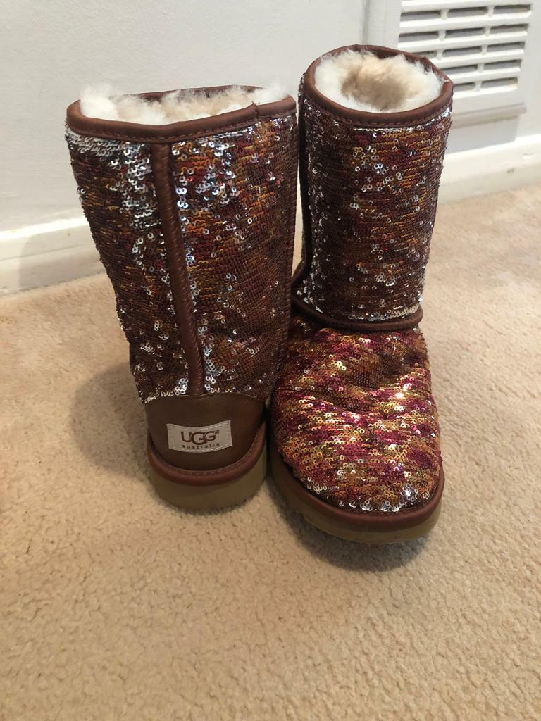Genuine ugg boots size 7.5 brown/silver sequins
