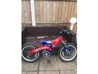 Boys 20 Inch Power Rangers Silver Fox front suspension Mountain Bike.