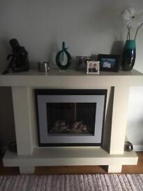 Modern electric fireplace and fire