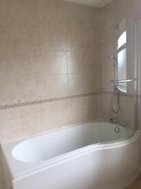 White three piece bathroom suite inc Mira shower