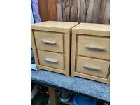Two Next bedside 2 drawer cabinets oak