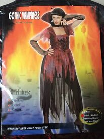 Sexy Gothic Vampiress Fancy Dress Costume Party Ladies Sz S/M