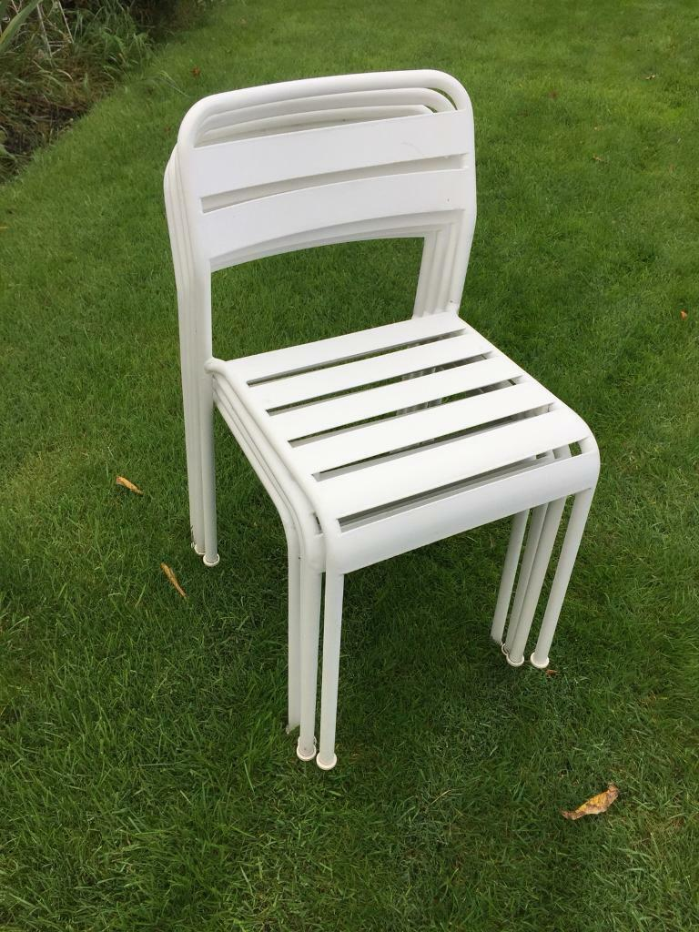 White metal stacking chairs garden chairs york