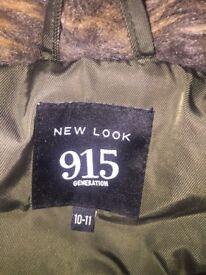 new look khaki jacket with fur collar