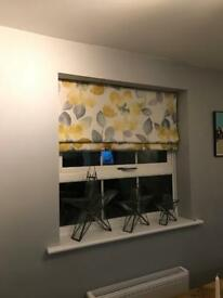 Beautiful hand made lined Roman Blind