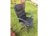 Adjustable Black Leather Office Chair on Wheels