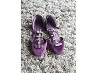 Girls party bridesmaid shoes purple size 12