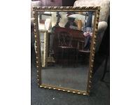 Gorgeous Large Heavy Ornate Gilt Carved Framed Rectangular Mirror