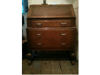 Dark Wood Vintage Bureau with leather inset pull down desk