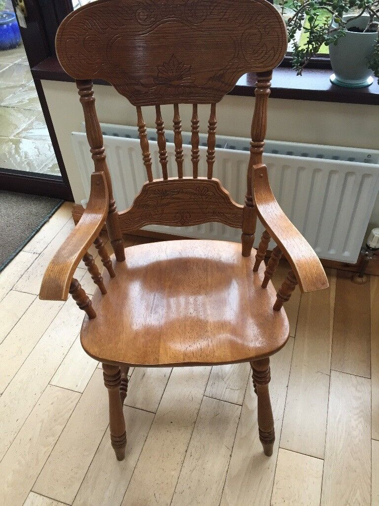 Two Beautifully Carved Wooden Kitchen/Dining Table Chairs