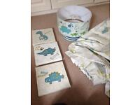 Dinosaur curtains, bedding, pictures & lampshade