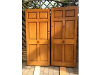 A PAIR OF BEAUTIFUL QUALITY EXTERIOR SOLID OAK ENTRANCE DOORS