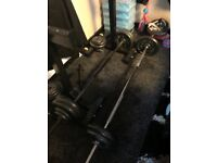 Weight lifting set with squat rack