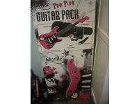 Jaxville Pink Punk Guitar Complete Package + Free Stand