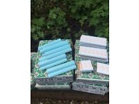 Blue apricot white ceramic tiles for bathroom, border 150 cm and dado rail 105 cm