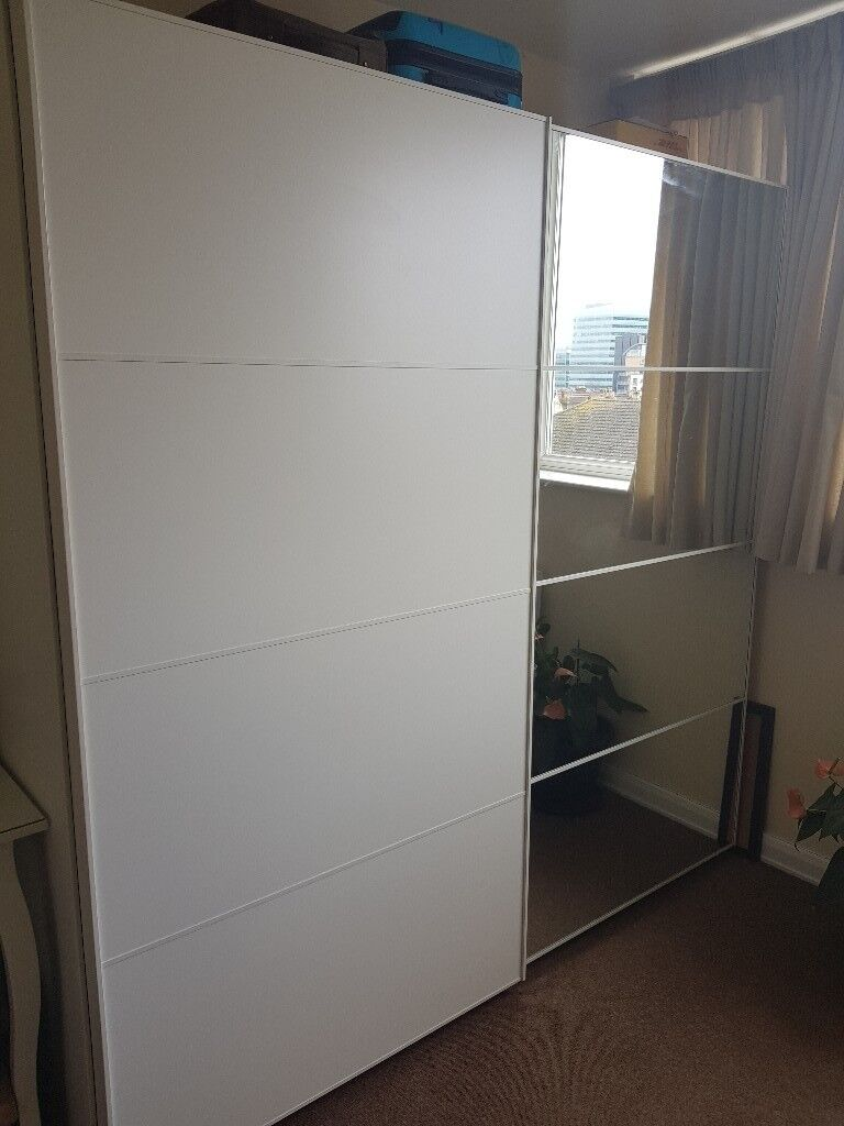 ikea pax white panel mirror sliding doors wardrobe. Black Bedroom Furniture Sets. Home Design Ideas