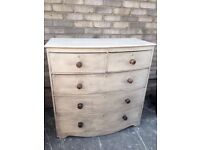 CHEST OF DRAWERS BOW FRONTED MAHOGANY FRENCH COUNTRY STYLE
