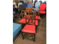 Red Chairs with Wooden Frames