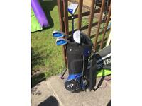 Junior golf clubs and bag,