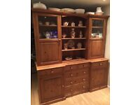 Glazed Pine Dresser with extendable dining table and 6 chairs