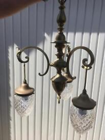Brass Antique Tri-light Fitting Acorn Cut Glass