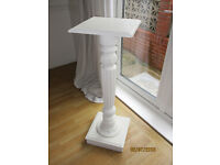Tall white wooden pedestal/plant stand/lamp stand