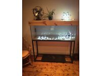 4 foot Fish Tank with Pine Wood lid & lights, Pump, Net & stand (whole set up!)