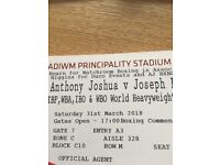 Anthony Joshua Joseph Parker Boxing Tickets Floor Seats! Cardiff Sat 31st March 6 Available