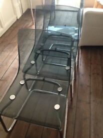 Set of 8 dining room chairs grey Perspex chrome legs Ikea