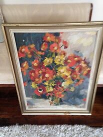 A vintage signed Acrylic on board painting-J Davies 1972-Flowers