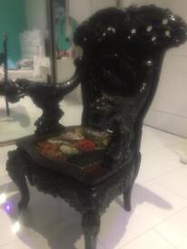 Antique Oriental Japanese Carved Throne Chair