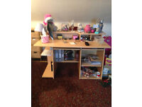 HOME DESK WITH SHELVES IN A LIGHT VANEER HARDLY USED