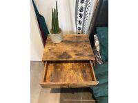 Free dark wood single drawer bedside table