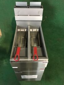 COMMERCIAL CATERING NEW GAS TWIN TANK FRYER CAFE RESTAURANT BBQ KEBAB CHICKEN SHOP KITCHEN BAR