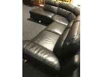 High quality black leather modern corner suite