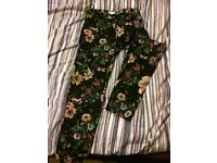 H&M floral work slacks size 10