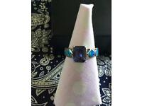 Solid Mexican silver, amethyst and Opal ring