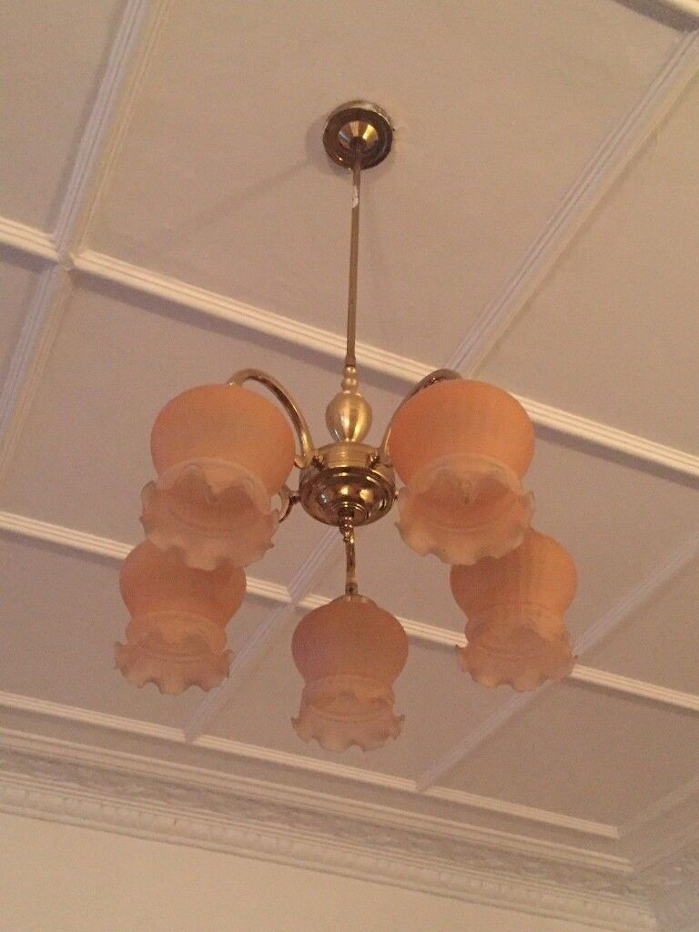 Set of Ceiling Lamp and 2 wall lamps . Pink/orange colour .