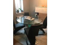 Cut Glass Dining Table & 4 Giatalia black leather chairs heavy