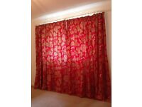 Pair of SANDERSON CURTAINS in Cowparsley Scarlett (Red) 100% Cotton Interlined with Silk Tiebacks