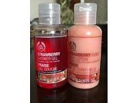 The Body Shop duo Strawberry Shower Gel & Strawberry Puree Body Lotion set
